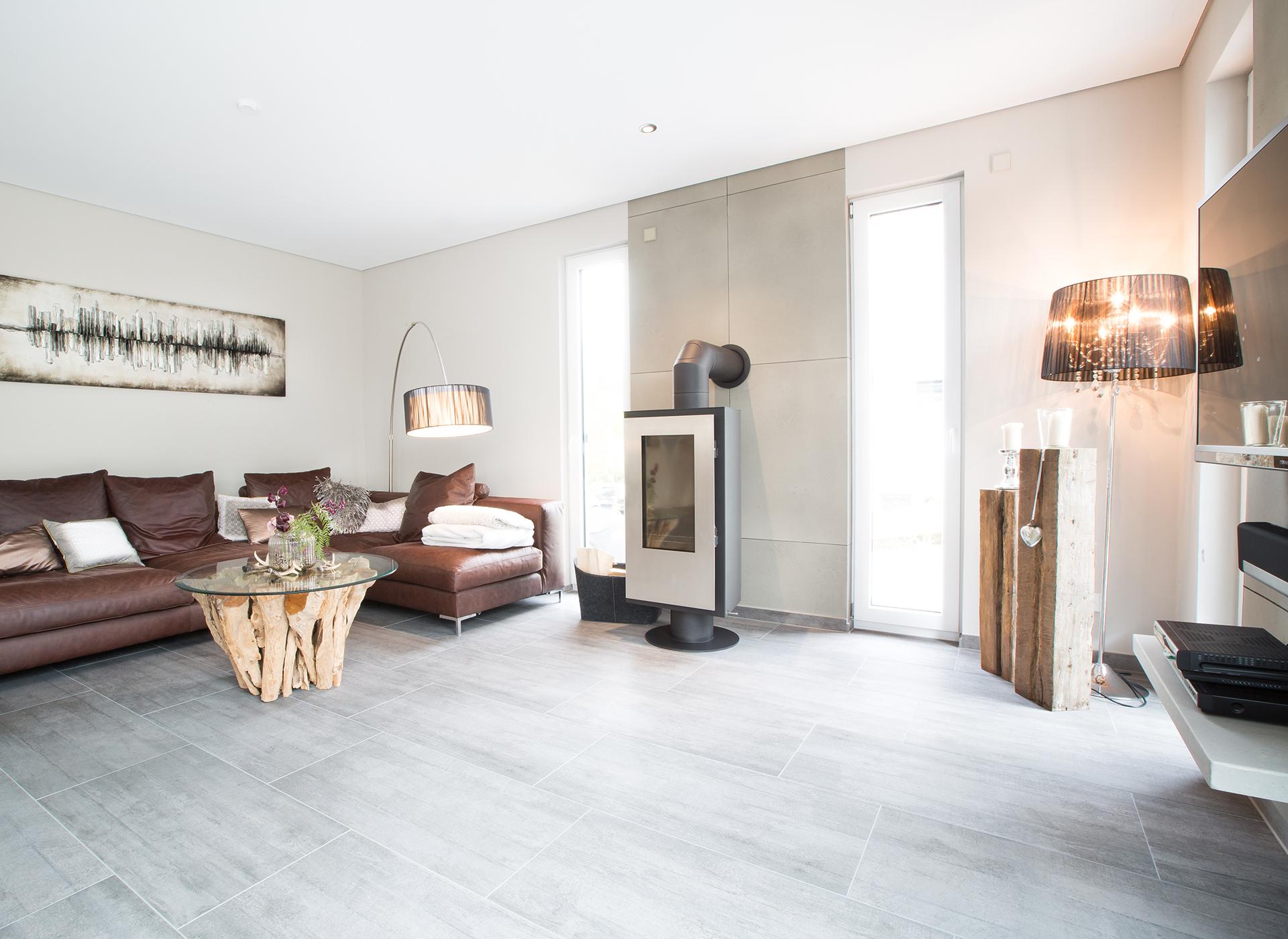 Wohnzimmer mit Betonoptik